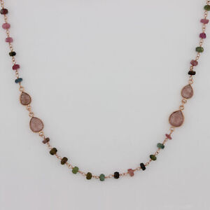 Amour Multi-Color Tourmaline Beaded Station Necklace in Rose Plated Silver