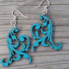 Aquamarine laser-cut wood earrings 1514 Swaying Vines Green Tree Jewelry