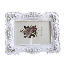 White Pink Photo Frame Flower Carving Desktop Decor Elegant Home Display 5/7/8in