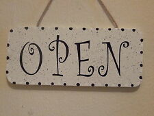 Lovely Decorative Handcrafted Wooden sign OPEN /CLOSED (Black & White)
