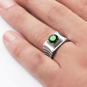 Green EMERALD Gemstone Modern Mens Ring with 4 DIAMONDS in Real Solid Silver