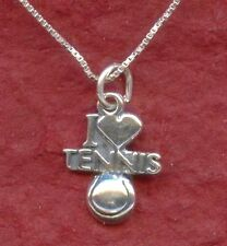 Sterling Silver I Love Tennis Necklace - NEW solid 925 Charm pendant and chain