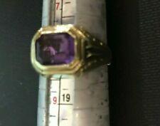 Step Cut Amethyst-kz 10K Yellow Gold Ring-Rectangle