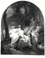 PRETTY YOUNG CUTE NAKED NUDE WOMEN GIRLS IN FOREST WOODS, 1892 Art Print Gravure
