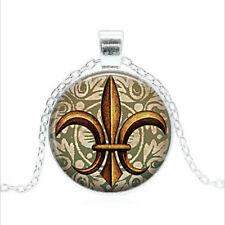 Gold Fleur de Lis Tibet silver Glass dome Necklace chain Pendant Wholesale