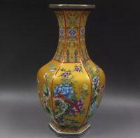 Jingdezhen Ceramic Vase Enamel hexagon porcelain Chinese #1 Antique Reproduction