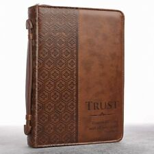 Bible Case Covers For Men Carrying Boys Zipper Large Handle Pocket Brown NEW