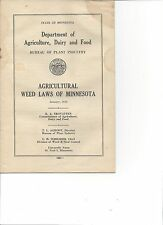 Rare 1946 Department of Agriculture, Dairy & Food Booklet Weed Laws of Minnesota