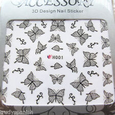 Nail Art Stickers Decals Black Lace Butterfly Butterflies (H001)
