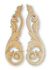 """LOT of 2 Wood Carved Gingerbread Architectural Molding 12"""" X 1/2"""" Scrolls Onlays"""