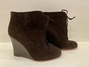 Christian Louboutin Wedge Ankle Boots Suede Lace Up Brown 37/ 6.5