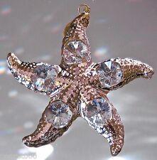 Starfish Ornament Made with  Swarovski Octagon Prisms, 24K Gold Plate