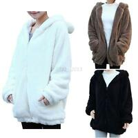 Women Korea Bear Ear Hoodie Hooded Jacket Loose Coat Tops Winter Warm Outerwear