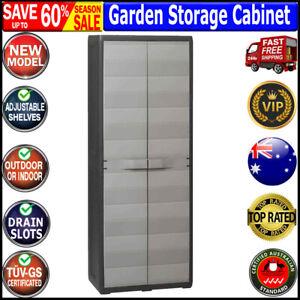 Garden Storage Cabinet with 3 Shelves Black and Grey Outdoor Patio Furniture