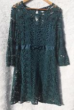 Portmans Womens Size14 Teal Crochet Lace Long Sleeve Formal Sheath Dress