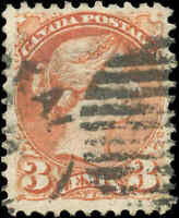 Canada Used 1873 3c F-VF Scott #37ii DULL RED PERF 11.5x12 Small Queen Stamp
