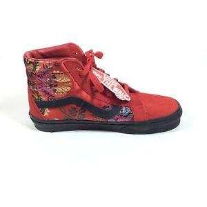 Vans Sk8-Hi Reissue Floral Embroidered Festival Satin Red Sneaker Men 6.5 W 8