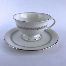 Pickard China Silver Wreath 1098 Footed Cup and Saucer Ivory Silver Leaves