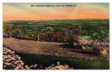 1930-1945 Panorama From Pine Knob Mt. Pocono Mountains PA Stroudsburg Postcard