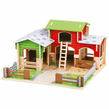Bigjigs Toys Wooden Cobblestone Farm With Working Gates a Stable Hay Loft