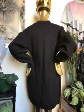 Azzedine Alaia Black And Navy Wool Long Sleeve Dress Sz L Press Studs Designer