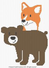 Crochet Patterns - WOODLAND FRIENDS - FOX AND BEAR Graph/Chart Afghan Pattern