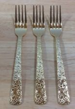 Vintage Cellini Romanesque 3 Dinner Forks Roses Gold Electroplate Japan 1960s