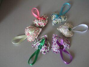 6 pretty  mixed hanging hearts handmade