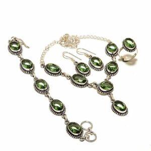 Green Amethyst Gemstone Handmade Ethnic Handmade Silver Jewelry Jewelry Set