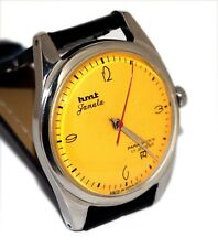 HMT JANATA HAND WINDING MENS STEEL YELLOW DIAL RARE VINTAGE WRIST WATCH RUN
