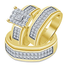 Diamond Trio Bridal Wedding His Her Engagement Ring Set 14K Yellow Gold Plated
