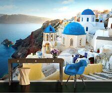 Wallpaper mural for living room & bedroom - photo wall - Santorini Greece coast