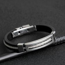 Mode Acier Inoxydable + Silicone Homme Bracelet Bande de Poignet Décor