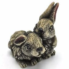 Bunny Rabbits Figurine Carved Resin 2.5 inches Tall 2.5 inches Long Cotton Tails