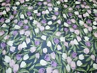 """Vintage HOLLAND TULIPS EH Silk Scarf Floral Exquisite T28""""x28"""" Hand Rolled Mint"""