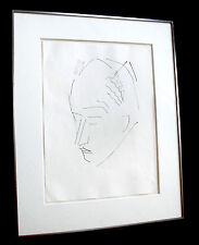 Georg Meistermann. Porträt Walter Scheel. Federzeichnung. handsigniert signiert