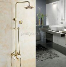 """Polished Gold Brass Wall Mounted 8"""" Rain Shower Faucet Set Hand Spray Tap Pgf374"""