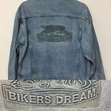 """Denim Jacket """"BIKERS DREAM"""" Embossed on the Back Naturally Faded."""
