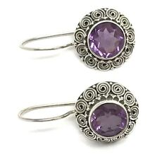 Amethyst faceted Round Drop Earrings, solid Sterling Silver, New, Actual Ones.