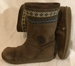 Clarks Brown Mid Calf Suede Lovely Boots Size 3F (814v)