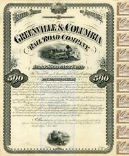 1875 Greenville & Columbia RR Bond Certificate