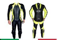 Tuta per moto racing da pista in vera pelle intera con Gobba-48 50 52 54 56 58;