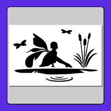6 X 9 inch STENCIL Fairy girl sitting on a Lily Pad with dragonflies/cattails
