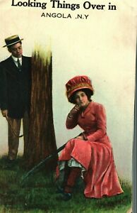 Antique (c.1910) Early Risque Humor Angola, New York Color Lithograph Postcard