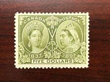 Canada Stamp 1897 $5 Olive-Green Q Victoria Jubilee Scott 65 Gibbons 140 OG F-VF