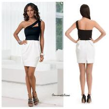 Boston Proper One-Shoulder Contrast Tulip Dress Black White XS Made in USA BMN