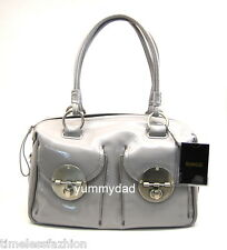 MIMCO TURNLOCK ZIP TOP PATENT LEATHER BAG IN DOVE GREY RRP$499