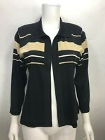 Exclusively Misook Petite Black Tan Stripe Open Front Cardigan Sweater XS