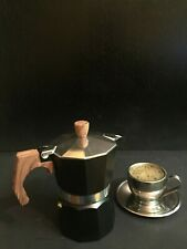 StoveTop Coffee Maker Espresso Moka  Coffee 3 Cup Aluminum With Wood Handle