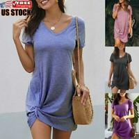 US Women's V Neck Bodycon Mini Dress Ladies Short Sleeve Casual Dresses Sundress